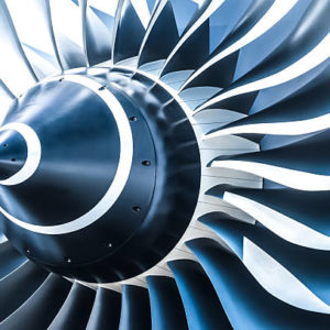 blue tone jet engine blades closeup